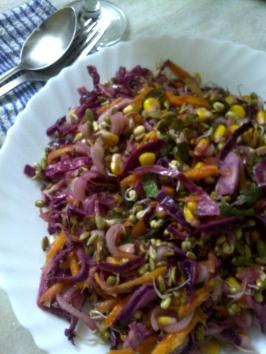 Colourful Sprouted Moong Bean Salad